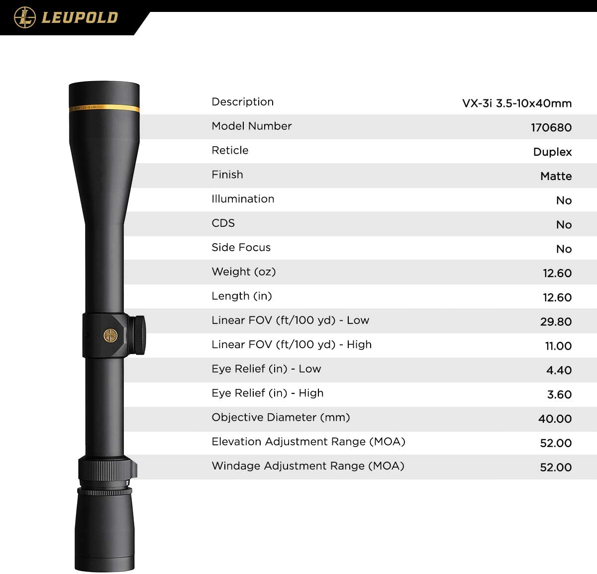 Leupold VX-3i 3.5-10x40mm Riflescope