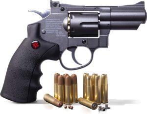 Crosman SNR357 0.177 Pellet/4.5 MM BB CO2-Powered Revolver Black/Grey 2.5″ Snub Nose