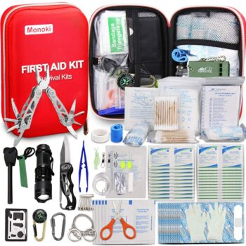Monoki First Aid Kit Survival Kit, 241Pcs Upgraded Outdoor Emergency Survival Kit Gear