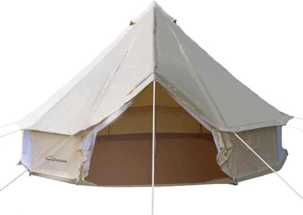 DANCHEL OUTDOOR 4-Season Waterproof Cotton Canvas Bell Yurt Tents Family Glamping