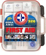 First Aid Kit Hard Red Case 326 Pieces Exceeds OSHA and ANSI Guidelines 100 People