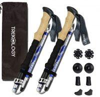 Trekology Trek-Z Trekking Hiking Poles - 2pc Pack Collapsible Folding Walking Sticks